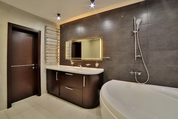 Luxury bathroom in the french style in the house. bathroom interior. Premium Photo