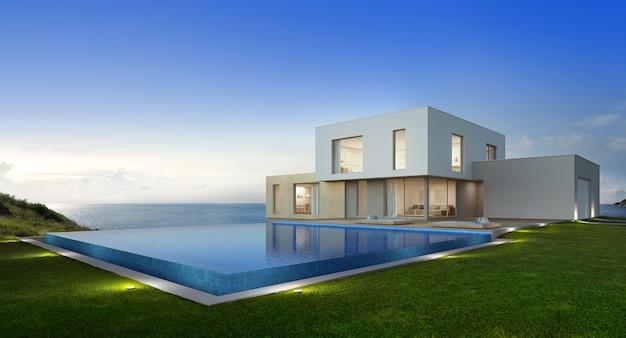 Роскошный пляжный дом с видом на море бассейн и терраса Premium Фотографии