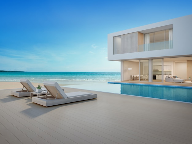 Luxury beach house with sea view swimming pool and terrace Premium Photo