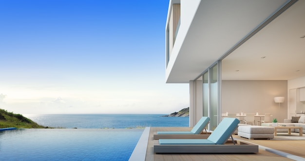 Luxury beach house with sea view swimming pool Premium Photo