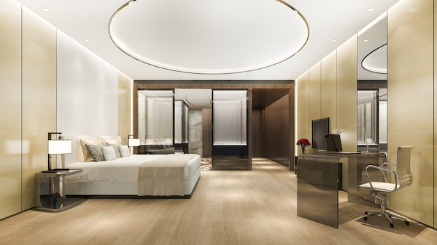 Luxury bedroom suite in hotel with desk table near bathroom and round ceiling Premium Photo