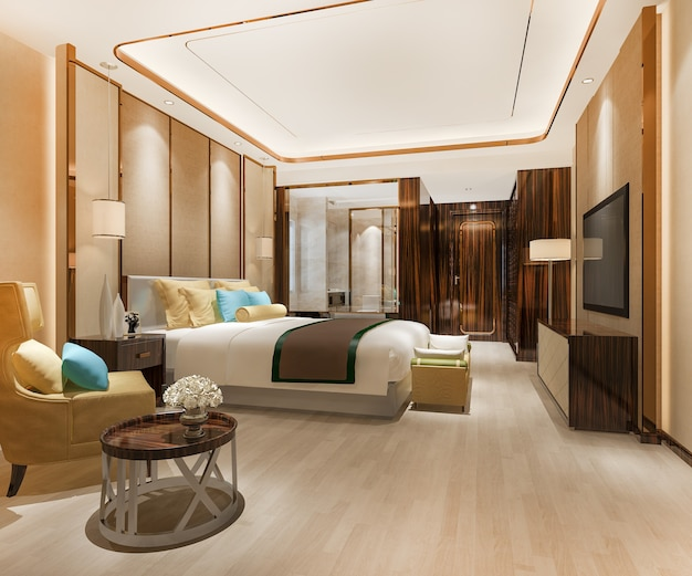 Luxury bedroom suite in hotel with modern decoration Premium Photo