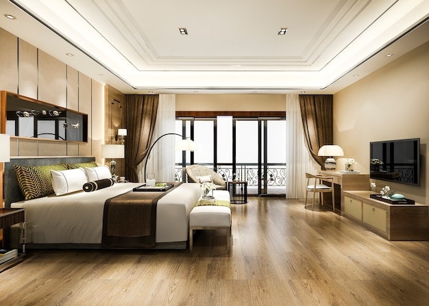 Luxury bedroom suite in resort high rise hotel with working table Free Photo