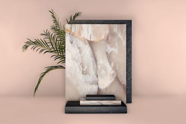 파스텔 배경에 야자수 잎 럭셔리 베이지 색과 검은 색 대리석 사각형 연단. 프리미엄 사진
