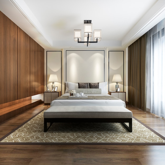 Luxury chinese modern bedroom suite in hotel with wardrobe Premium Photo