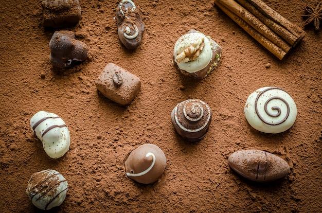 ココアの高級チョコレート菓子 Premium写真