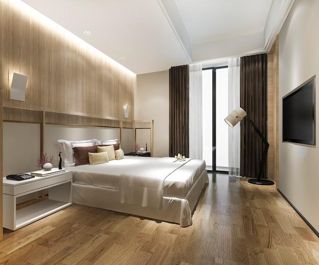 ホテルの豪華なクラシックモダンなベッドルームスイート Premium写真