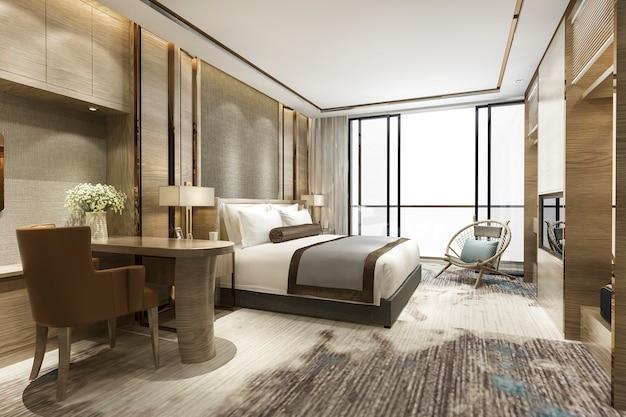 ホテルの豪華なクラシックモダンなベッドルームスイート 無料写真