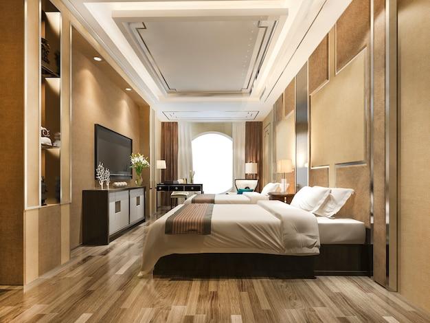 럭셔리 클래식 모던 베드룸 스위트 호텔 프리미엄 사진