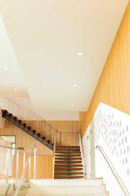 Luxury custom built interior wooden staircases  in modern building. Premium Photo