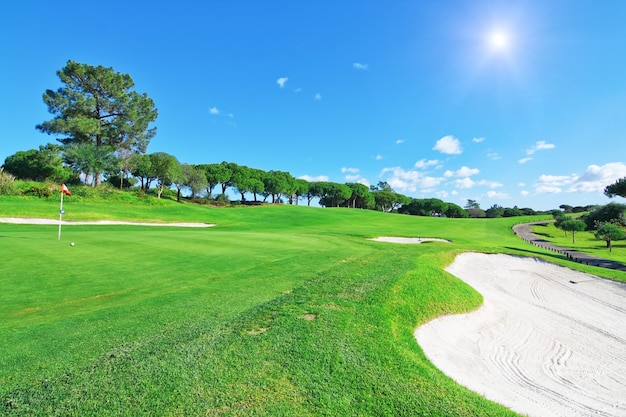 A luxury golf course for summer vacations. Premium Photo
