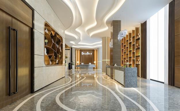 고급 호텔 리셉션 홀 및 사무실 장식 선반 프리미엄 사진