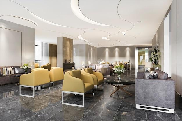 モダンなミニマルカウンターを備えた高級ホテルのレセプションホールとオフィス Premium写真