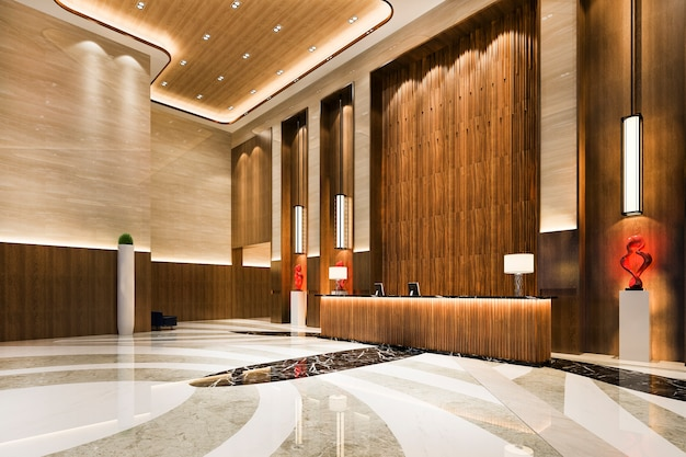 Luxury hotel reception hall and lounge restaurant with high ceiling Free Photo