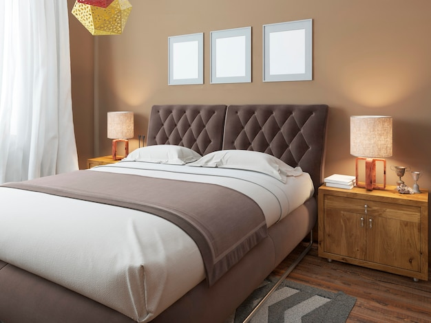 Luxury large modern double bed in the bedroom loft style Premium Photo