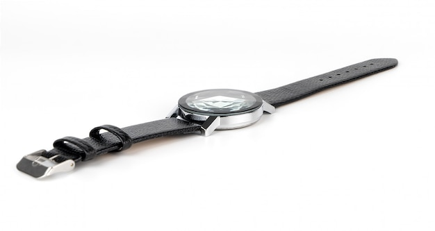 Luxury leather men hand watch isolated on white Premium Photo