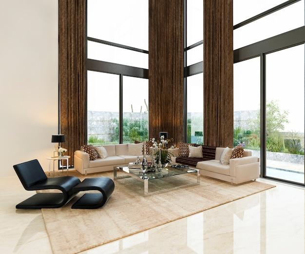 Роскошная гостиная лобби холл с высоким окном лобби Premium Фотографии
