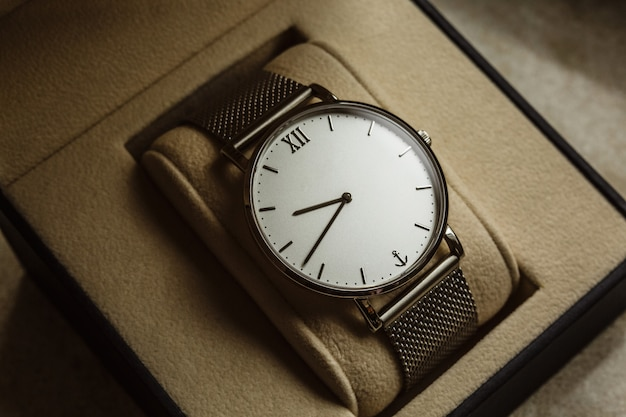 Luxury men's watch in a gift box. accessories for a businessman Premium Photo