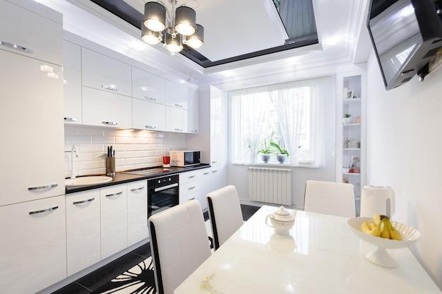 Luxury modern black and white kitchen interior Premium Photo