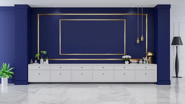 Luxury modern blue room interior,/3d render Photo | Premium