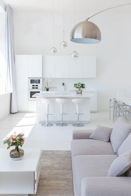 Premium Photo Luxury Modern Interior Design Of White Studio Apartment In Minimalist Style