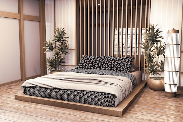 Luxury Modern Japanese Style Bedroom Mock Up Designing The Most Beautiful 3d Rendering Premium Photo