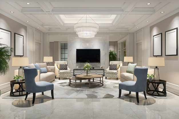 Luxury and modern living room with bookshelf Premium Photo