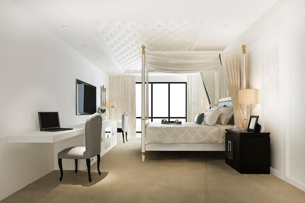 호텔 및 리조트의 럭셔리 빈티지 침실 스위트 프리미엄 사진