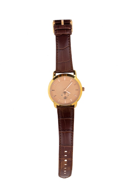 Luxury watch with a leather strap isolated on white background Premium Photo