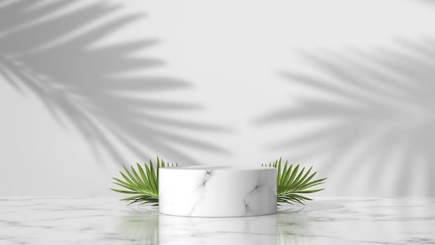 야자수 잎과 흰색 배경에서 그림자와 함께 고급스러운 흰색 대리석 실린더 연단. 프리미엄 사진
