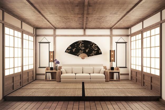Luxury Zen Style Living Room 3d Rednering Premium Photo