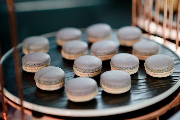 Macaroon, dessert, buffet food, catering food party at restaurant, mini canapes, Premium Photo