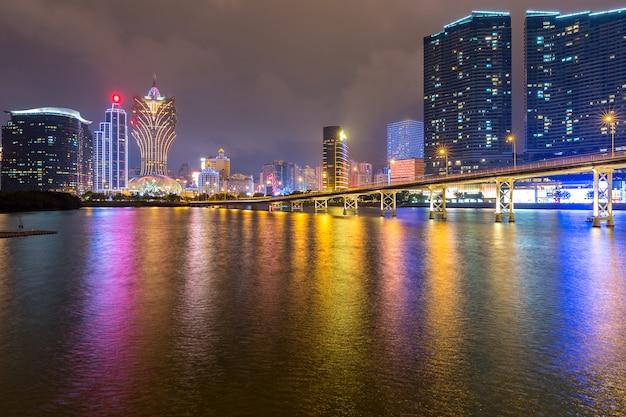 Macau cityscape night Premium Photo
