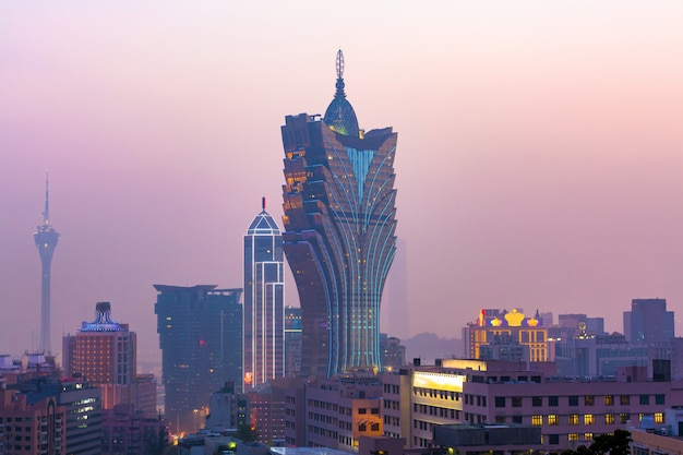 Macau cityscape at twilight, all hotel and casino are colorful lighten up, macau, china. Premium Photo