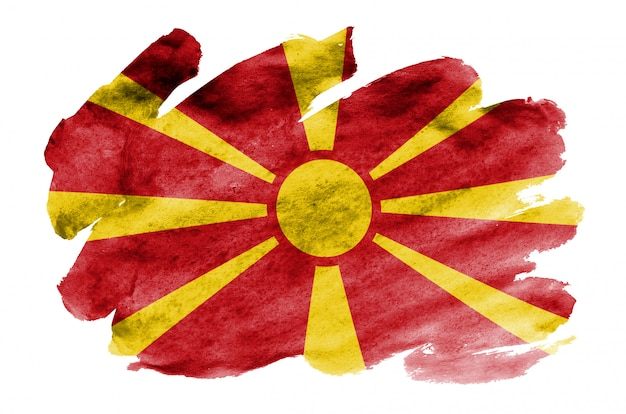 Macedonia flag is depicted in liquid watercolor style isolated on white Premium Photo