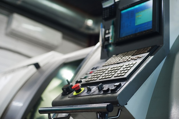 Machine control panel cnc. metalworking  milling machine. cutting metal modern processing Premium Photo