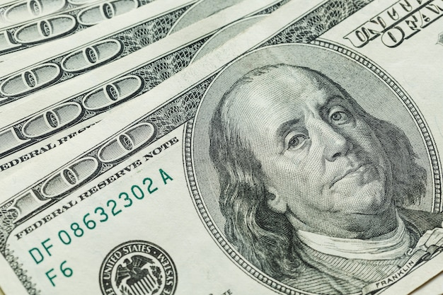 Macro close up of ben franklin's face on the us 100 dollar Premium Photo