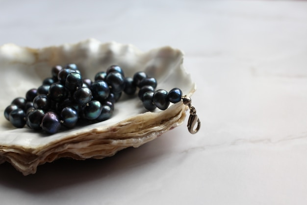 Macro photograph of black pearl beads with precious stones on a shell Premium Photo