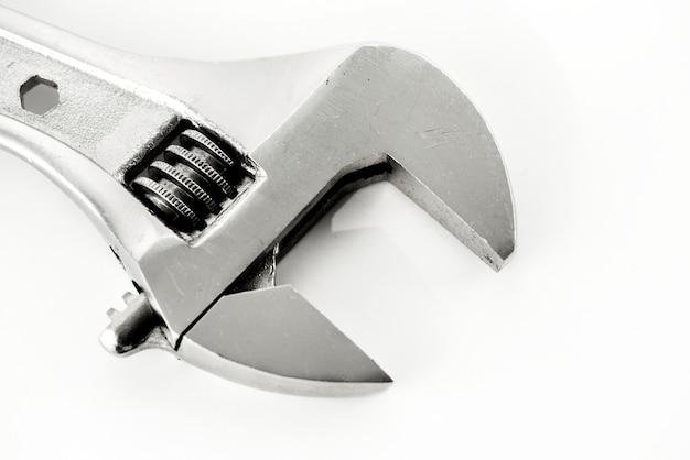 Macro shot of adjustable wrench isolated on whtie background Free Photo