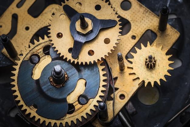 The macro view of clock mechanism Free Photo
