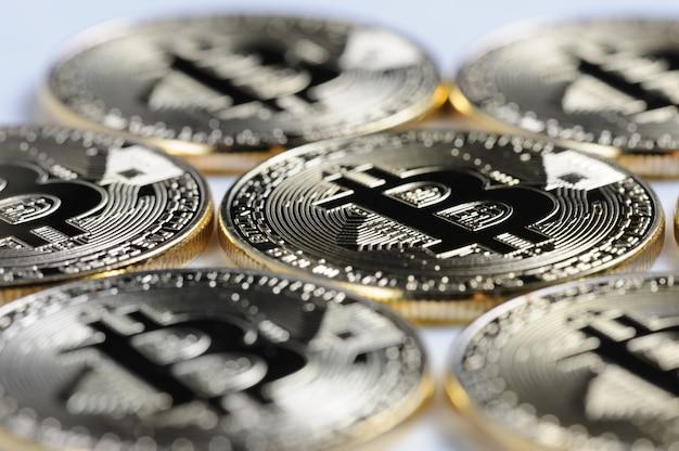 Macro view of shiny bitcoin souvenire coins Premium Photo