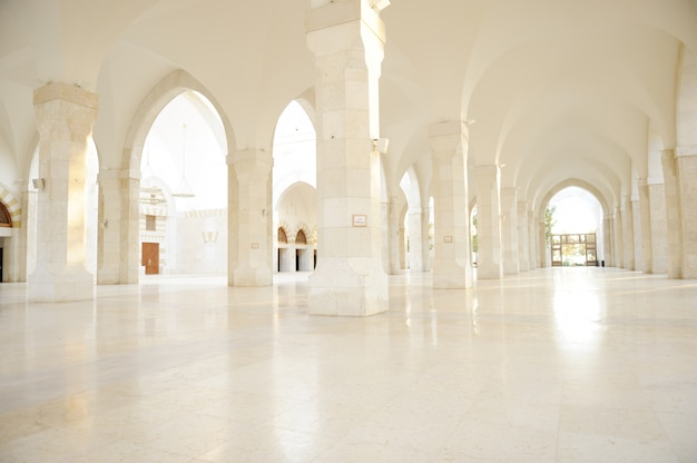 Madina mosque empty, conceptual indoor of oriental building. fantastic background. Premium Photo