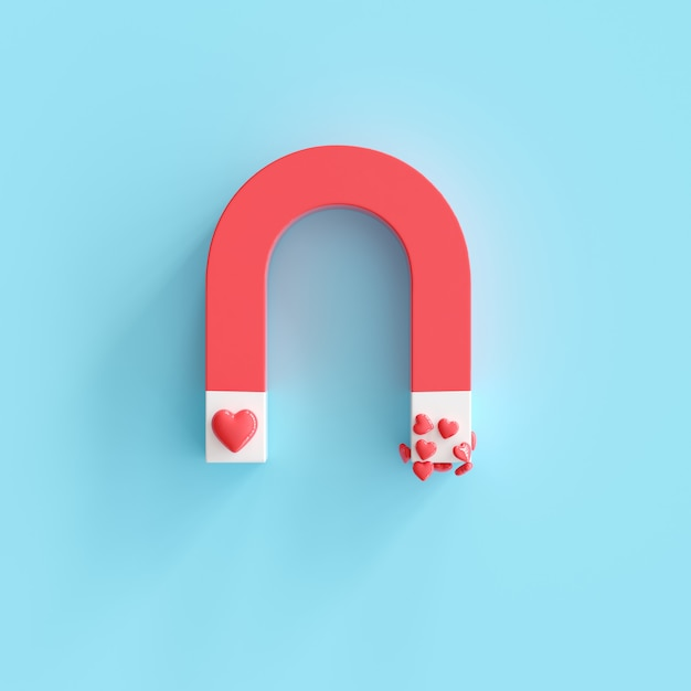 Магнит с формой сердца, минимальный валентина идея концепции. 3d визуализация Premium Фотографии