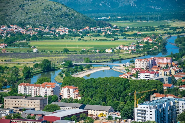 Magnificent view of trebinje from the height of the ancient temple of hercegovachka-gracanica Premium Photo