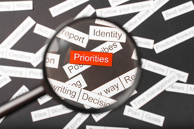 Magnifier glass over the red inscription priorities cut out of paper Premium Photo