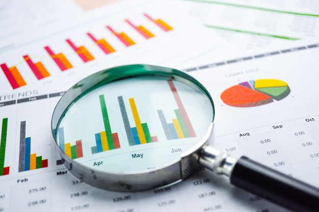 Magnifying glass on charts graphs spreadsheet paper. financial development. Premium Photo