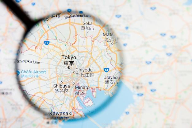 日本地図上の虫眼鏡 Premium写真