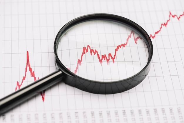Увеличительное стекло над красным графиком фондового рынка на бумаге Premium Фотографии