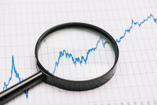 Увеличительное стекло над графиком фондового рынка на бумаге Premium Фотографии