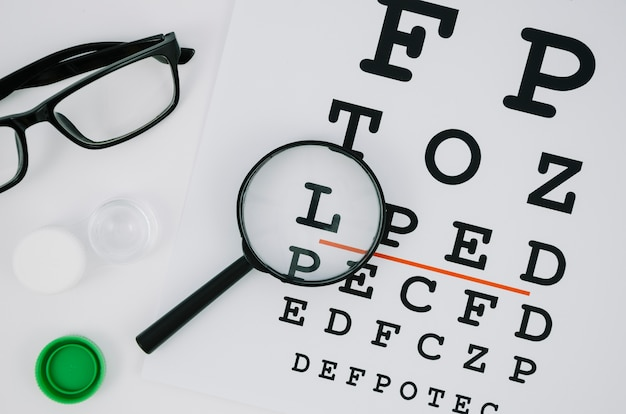 Magnifying glass over a selection of letters Free Photo
